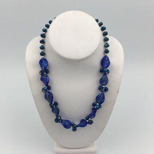Venetian Murano Glass Blue Beaded Necklace